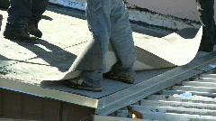 Flat roof installation Stock Footage