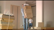 Happy family moves into a new apartment Stock Footage
