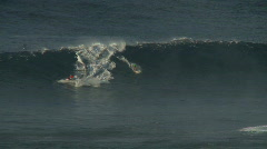 Big Wave Surfers at Jaws, Maui Hawaii - Slow Motion Clip 1 of 5 Stock Footage