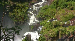 Iguazu Falls Zoom to Tourboat and Back Out Nat Sound Stock Footage