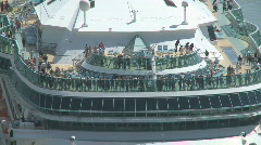 Passengers on deck as ship berths Stock Footage