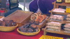 Farmer's Market - Prepackaged goods - 3 - baked goods and snacks Stock Footage