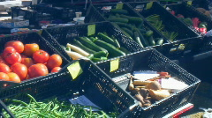 Farmer's Market - Fresh Vegetables and Fruits -7 tomatoes, cucumbers and more  Stock Footage