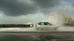 Car driving through a big storm Stock Footage