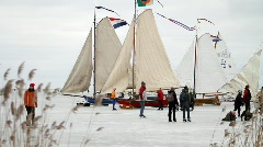 Ice skating, ice sailing Stock Footage