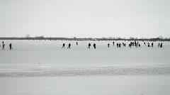 Ice skating, ice sailing Stock Footage