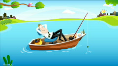 Fishing Time for Businessman #2 Stock Footage