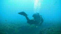 Diver Swimming Away Stock Footage
