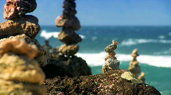 Serenity Stones with Ocean backdrop - stock footage