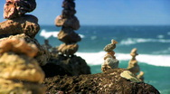 Stock Video Footage of Serenity Stones with Ocean backdrop