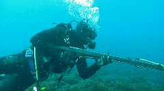 Scuba Diver with Spear Gun (HD) Stock Footage