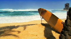 Lifeguard Surfboard Ready For Use Stock Footage