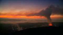 Stock Video Footage of Sunset With Steam from Volcanic Lava Skylight