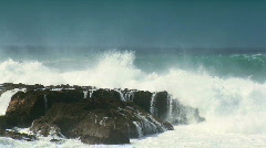 Fierce Breaking Waves Over Dangerous Rocks Stock Footage