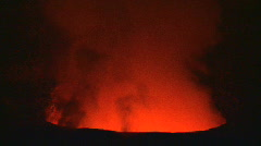 Volcanic Lava Skylight in Glowing Red Lava Tube - stock footage