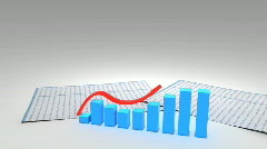 3d growing business chart graph with financial data 1080p Stock Footage