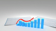 Stock Video Footage of 3d growing business chart graph with financial data 1080p
