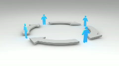 3D human symbol connected with arrows standing in circle  1080p Stock Footage