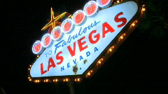 Las Vegas sign at night - fast pans (1 of 7) - stock footage