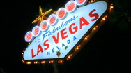 Stock Video Footage of Las Vegas sign at night - fast pans (1 of 7)