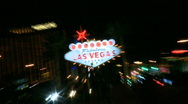 Stock Video Footage of Welcome to Vegas sign at night - fast zoom in (2 of 4)