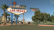 Stock Video Footage of Tourists mill around Las Vegas sign