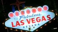 Stock Video Footage of Welcome to Vegas sign at night - fast zoom in (3 of 4)