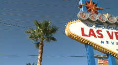 Welcome to Las Vegas sign - pan right (1 of 2) - stock footage