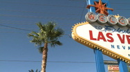 Stock Video Footage of Welcome to Las Vegas sign - pan right (1 of 2)