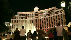 Tourists watch the Bellagio fountains (3 of 4) Stock Footage