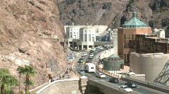 Traffic enters & exits Nevada via the Hoover Dam - stock footage