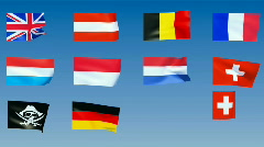 Western Europe Flags. Alpha is included - stock footage