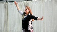 Diva Ellah Risner demonstrates her Soprano voice Stock Footage