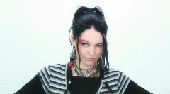 Goth girl expressions 2 - 3 - Vulcan eyebrow - giggle Stock Footage