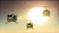 133 awesome helicopters bell huey sunset Stock Footage