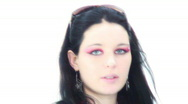 Beehive hair goth chick - 6 - paparazzi flashes Stock Footage