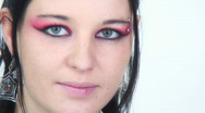 Goth Girl - Close ups - 2 -smirk, twitch and giggle lt half  Stock Footage