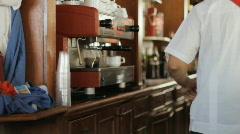 Bar Staff At A Cuban Resort Hotel Making An Espresso Coffee Stock Footage