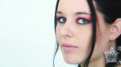 Goth Girl - Close ups - 1 - turn smile and giggle rt half Stock Footage
