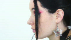 Goth Girl - Close ups - 13 - growl - did I scare you? Stock Footage