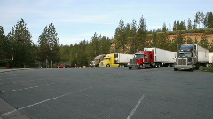 Truck stop, big rigs Stock Footage