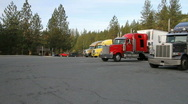 Highway rest stop, trucking Stock Footage