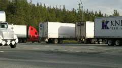 Truck stop, forest Stock Footage