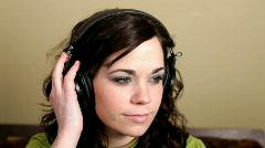 Girl listening to Headphones Stock Footage