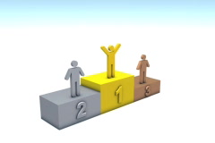 Winners on podium 3d animation ntsc - stock footage
