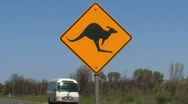 A kangaroo cross road sign Stock Footage