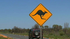 A kangaroo cross road sign Stock Footage