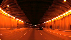 P.O.V. in Entrance Tunnel to Road Bridge Stock Footage
