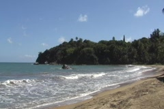 Puerto Rico - Lucia Beach and  Mermaid Rock Stock Footage