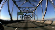 Stock Video Footage of T/Lapse P.O.V. Journey into San Francisco via Road Bridges